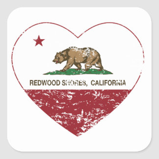 california flag redwood shores heart distressed square sticker
