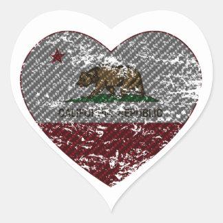 california flag republic carbon fiber heart heart sticker