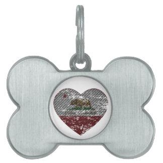 california flag republic carbon fiber heart pet tag