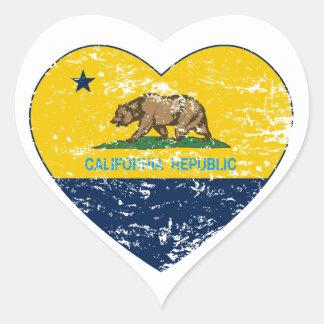 california flag republic dark blue heart heart sticker