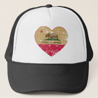 california flag republic gold heart distressed trucker hat