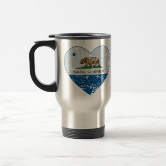 california flag republic heart blue and grey travel mug