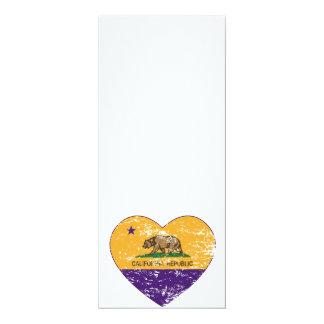 california flag republic purple heart distressed 4x9.25 paper invitation card