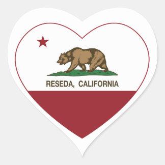 california flag reseda heart heart sticker