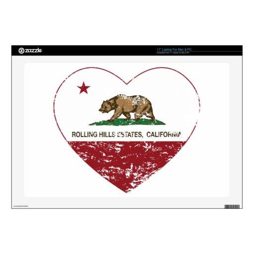 "california flag rolling hills estates heart dist 17"" laptop decals"