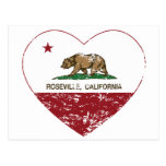 california flag roseville heart distressed post card