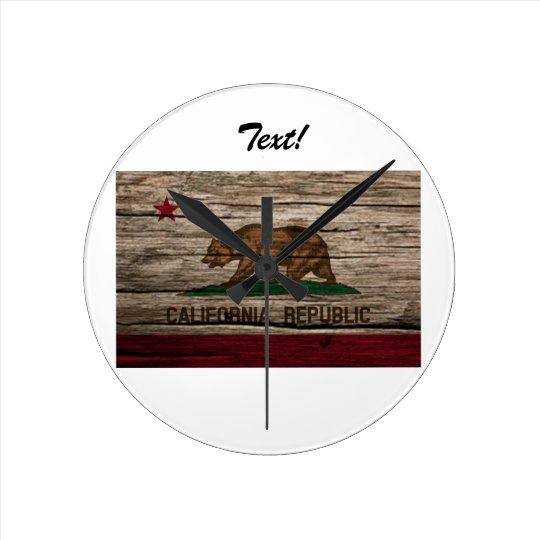 California Flag Rustic wood Round Clock