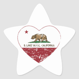 california flag S. lake tahoe heart distressed Star Sticker