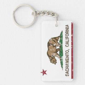 california flag sacramento distressed acrylic key chain