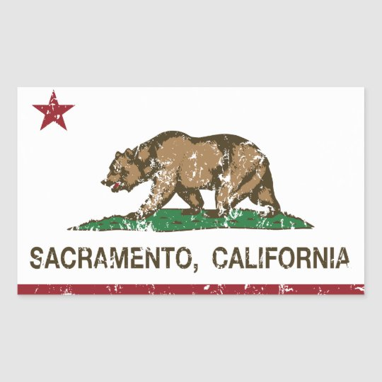 california flag sacramento distressed rectangular sticker