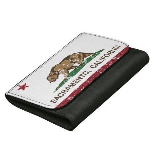 california flag sacramento distressed wallets for women