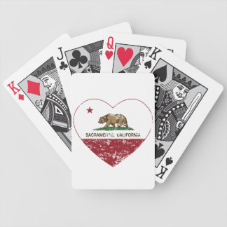 california flag sacramento heart distressed bicycle playing cards