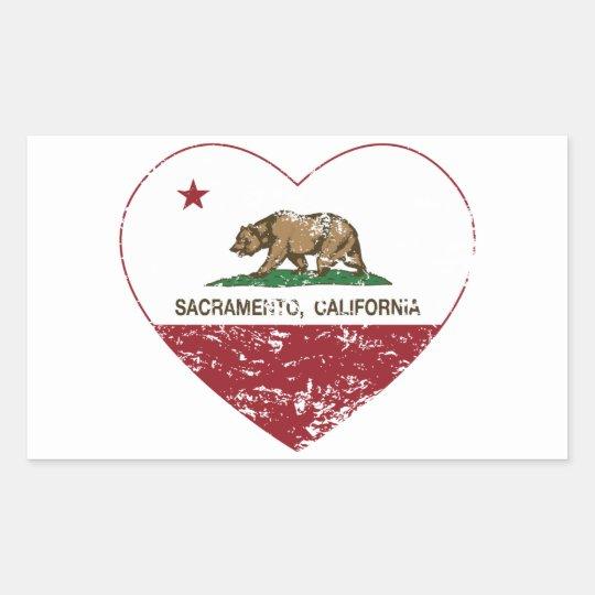 california flag sacramento heart distressed rectangular sticker