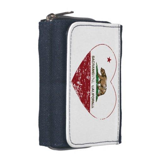 california flag sacramento heart distressed wallets