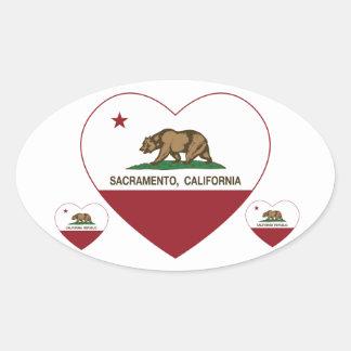 california flag sacramento heart oval sticker