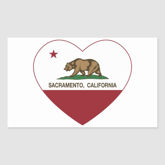 california flag sacramento heart rectangular sticker