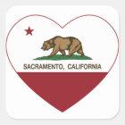 california flag sacramento heart square sticker