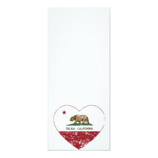 california flag salida heart distressed 4x9.25 paper invitation card