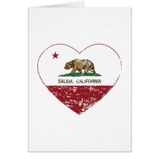 california flag salida heart distressed greeting card