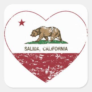 california flag salida heart distressed square sticker