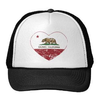 california flag salinas heart distressed trucker hat