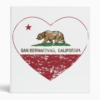 california flag san bernardino heart distressed 3 ring binder