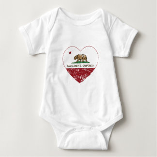 california flag san clemente heart distressed baby bodysuit