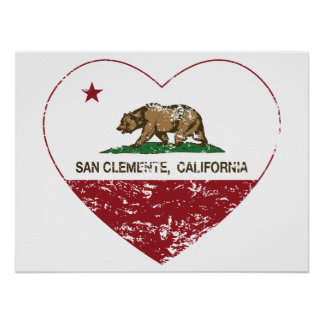 california flag san clemente heart distressed poster