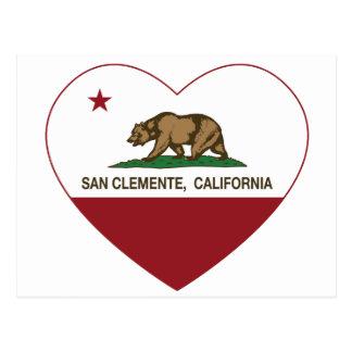 california flag san clemente heart postcard