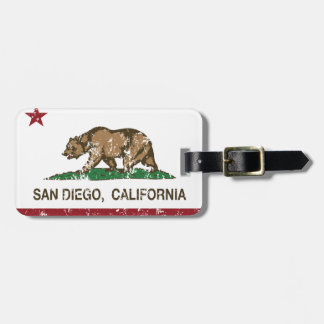 california flag san diego distressed tag for luggage