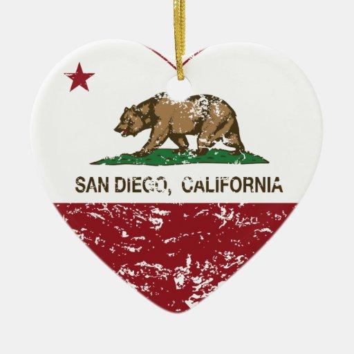 california flag san diego heart distressed christmas tree ornaments
