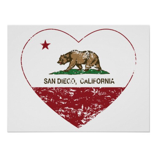 california flag san diego heart distressed posters