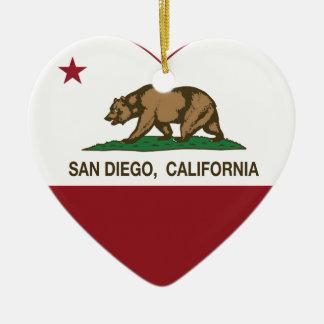 california flag san diego heart Double-Sided heart ceramic christmas ornament