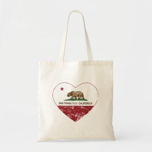 california flag san francisco heart distressed tote bags