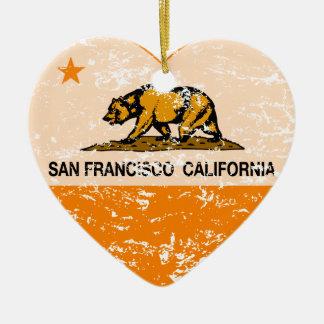 california flag san francisco heart distressed Double-Sided heart ceramic christmas ornament