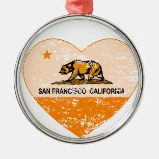 california flag san francisco heart distressed round metal christmas ornament
