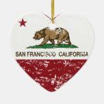 california flag san francisco heart distressed ornaments