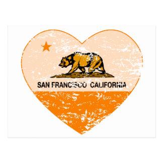 california flag san francisco heart distressed postcard