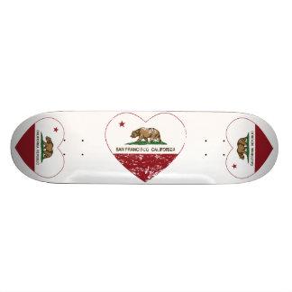 california flag san francisco heart distressed skateboard deck