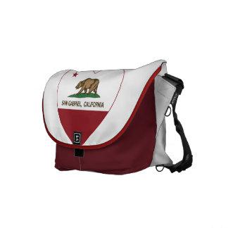 california flag san gabriel heart courier bags