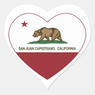 california flag san juan capistrano heart heart sticker