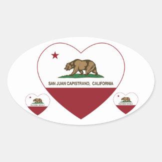 california flag san juan capistrano heart oval sticker