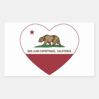 california flag san juan capistrano heart rectangular sticker