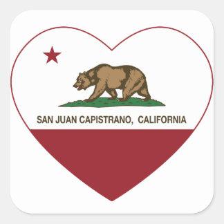 california flag san juan capistrano heart square sticker