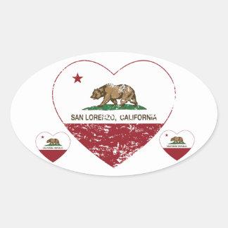 california flag san lorenzo heart distressed oval sticker