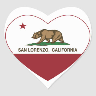 california flag san lorenzo heart heart sticker