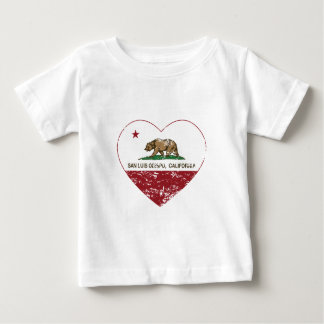 california flag san luis obispo heart distressed baby T-Shirt