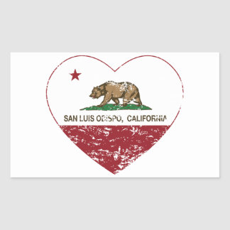 california flag san luis obispo heart distressed rectangular sticker