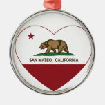 california flag san mateo heart round metal christmas ornament