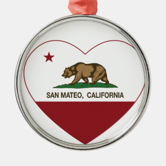 california flag san mateo heart christmas tree ornament